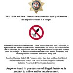 "Needles, CA: San Bernardino County Sheriff's Department's Colorado River Station reminds Independence Day 2020 Weekend public City of Needles only allows ""Safe and Sane"" fireworks."