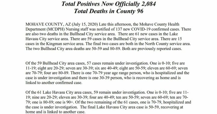 News Update: Mohave County, AZ: COVID-19 Information; Positive Cases: 2,084; Recovered Cases: 581; and Deaths: 96.