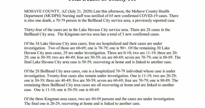 News Update: Mohave County, AZ: COVID-19 Information; Positive Cases: 2,438; Recovered Cases: 648; and Deaths: 115.