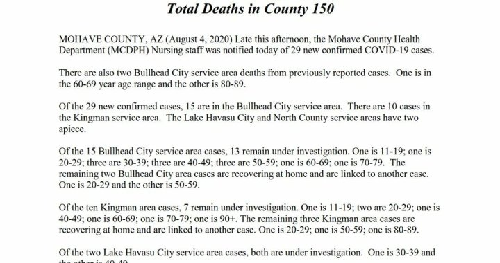 News Update: Mohave County, AZ: COVID-19 Information; Positive Cases: 3,058; Recovered Cases: 1,394; and Deaths: 150.