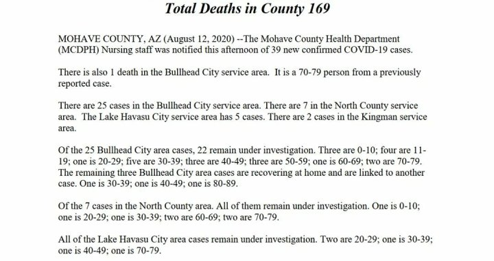 News Update: Mohave County, AZ: COVID-19 Information; Positive Cases: 3,284; Recovered Cases: 1,841; and Deaths: 169.