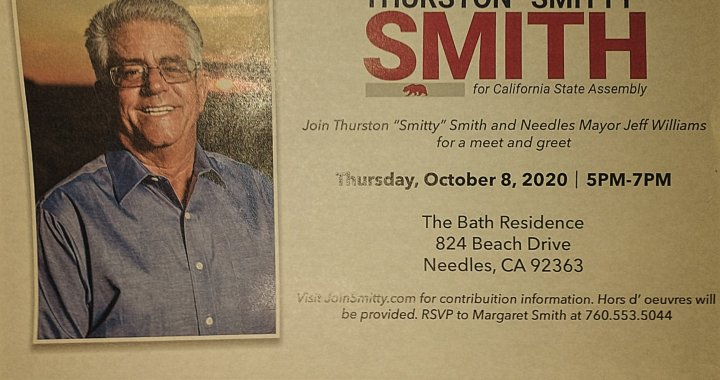 """Needles, CA: Election 2020: Meet and Greet event withCalifornia State Assembly District 33 Candidate Thurston """"Smitty"""" Smith and Needles City Mayor Candidate Jeff Williams today."""