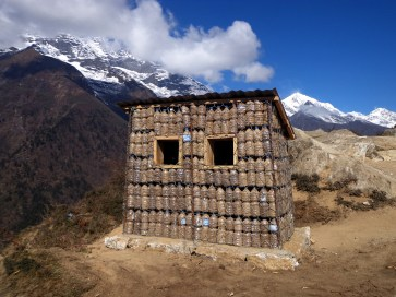 Reusing mineral water bottles at Namche