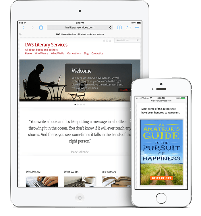 LWS Literary Services iPad and iPhone responsive Mockup designs