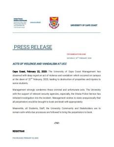 UCC Management Press Release