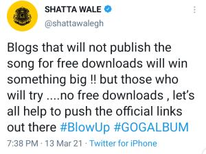 Shatta wale's tweet