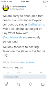 D9B060B1 7897 46AB 99C1 22E091E34632 Nigerian Singer Tekno Misses Interview On MTV Base West Because He Overslept