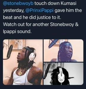 Stonebwoy Touchdown Kumasi Yesterday, To Record A Song In Prinxi Pappi Studio