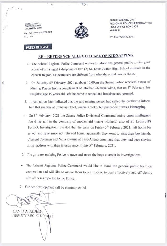 7B6C64F0 ECDD 48B9 BB0A B5715901D32E Missing St.Louis Jhs girls found with their boyfriends – Police confirms