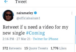 """Screenshot 20210327 151531 Naira Marley set to drop his new single """"coming"""" video."""