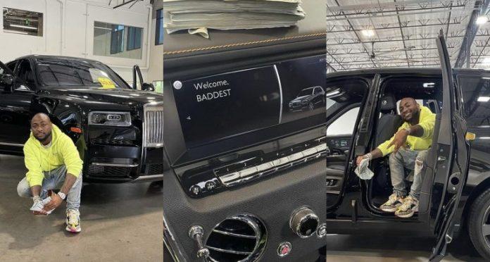 Photos: Davido Gets Himself A New Rolls Royce, Celebrates Wildly On Social Media