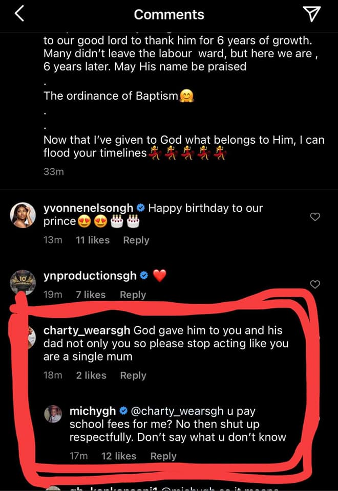 """Michy Claps Back At A Netizen For Saying """"God Gave Him To You And His Dad…Stop Acting Like A Single Mum"""" Following Her Decision To Baptise Majesty - See Screenshot"""