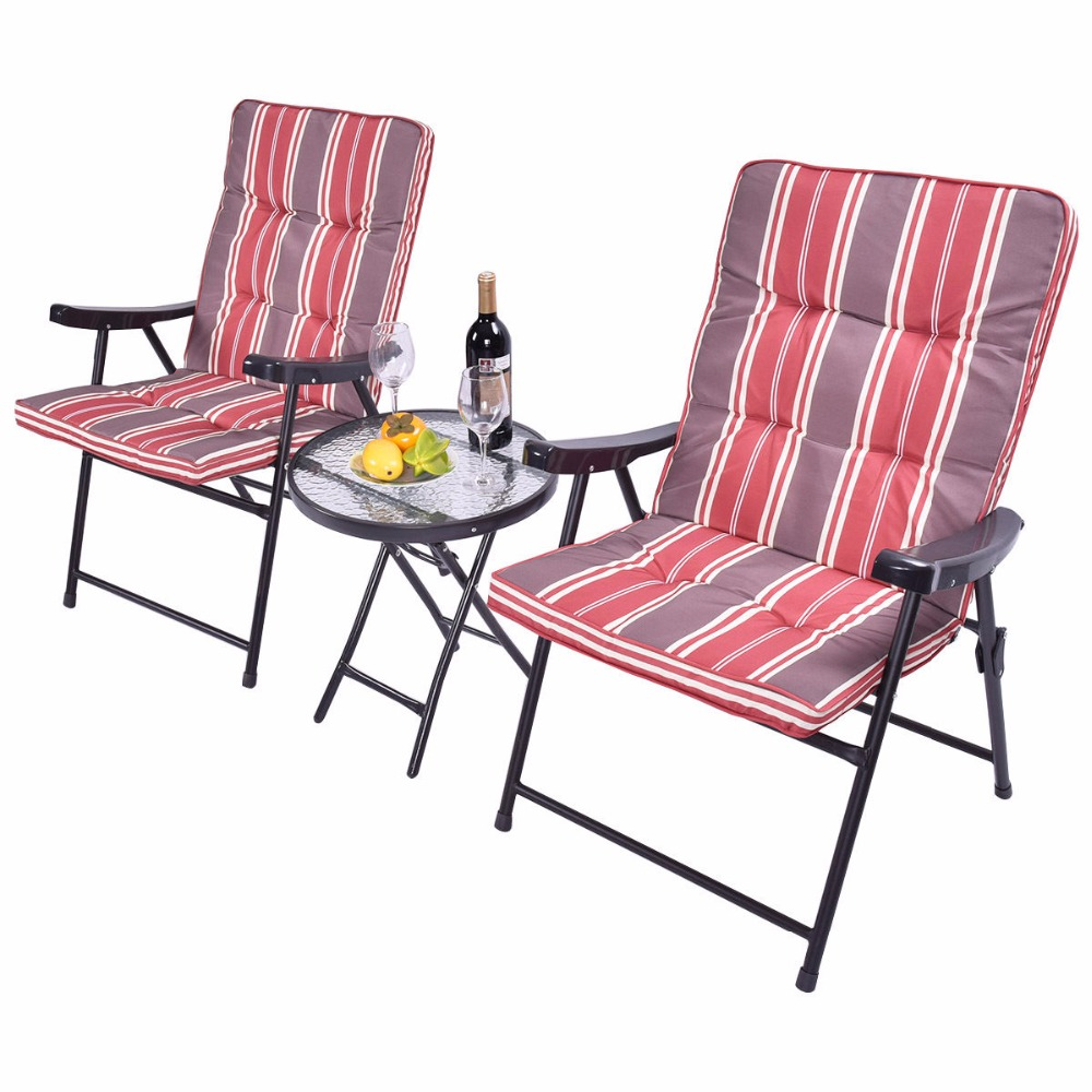 set of folding chairs. Patio 3 Pcs Outdoor Folding Chairs Table Set Furniture Garden With Cushions \u2013 ZADRIMA PAZAR Of .