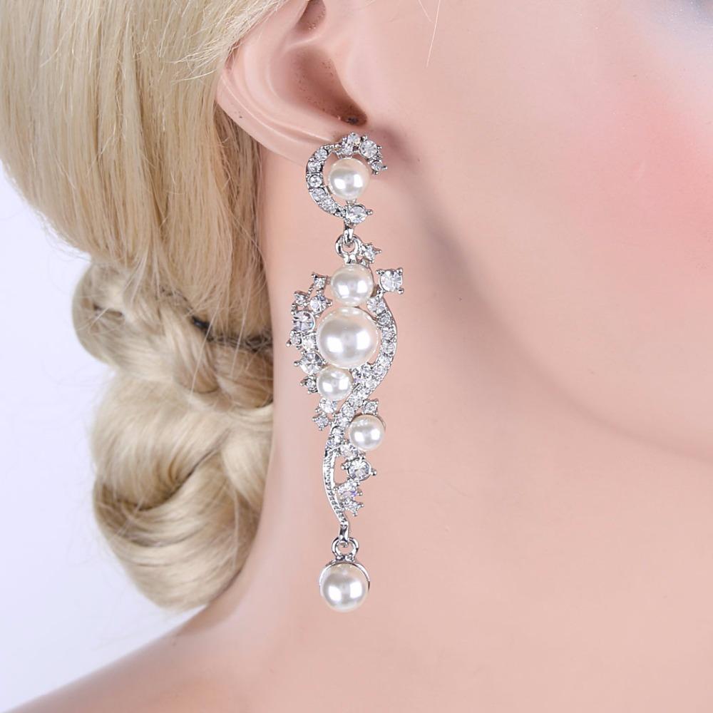 Bella Fashion Elegant Simulated Pearl Vine Bridal Earrings Austrian ...
