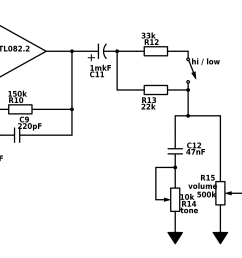 after the op amp we have to go back to our real ground for this reason we need coupling capacitor c11 because pedal could be connected to devise with  [ 2008 x 1583 Pixel ]