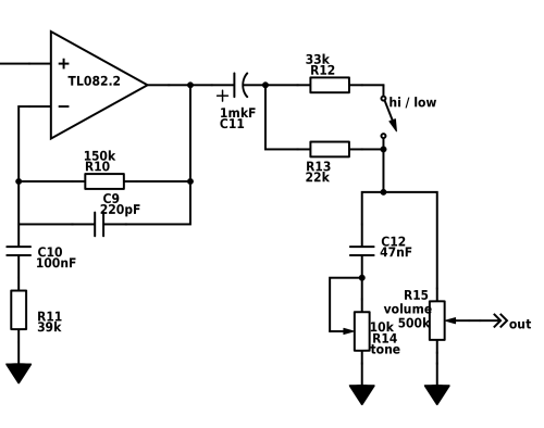 small resolution of after the op amp we have to go back to our real ground for this reason we need coupling capacitor c11 because pedal could be connected to devise with