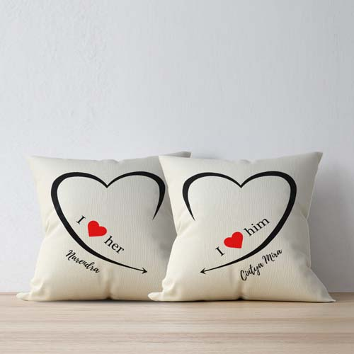 bantal couple love her and him