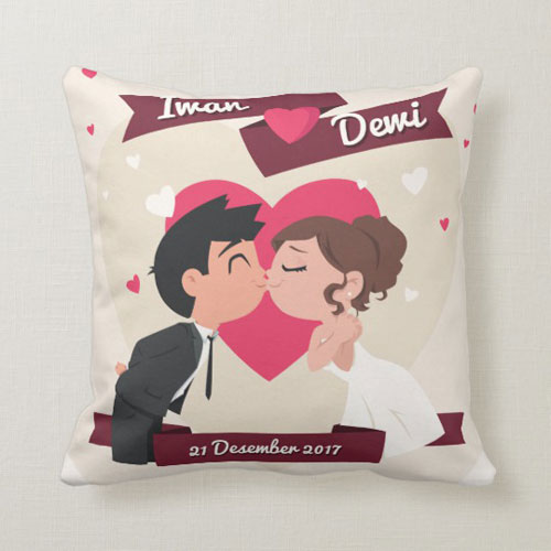 kado pernikahan bantal love couple