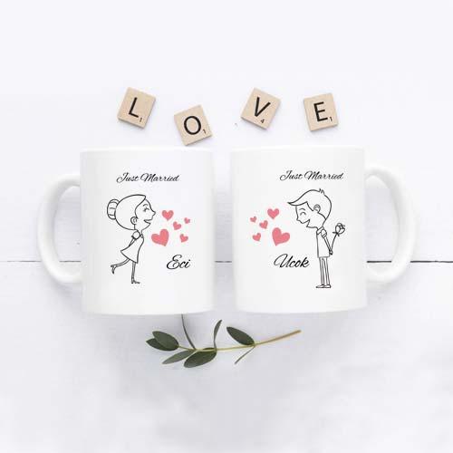 kado pernikahan unik mug couple tema romantis