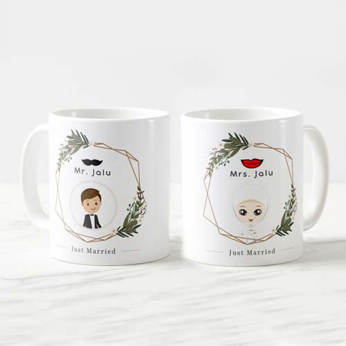 kado pernikahan unik mug couple tema rustic