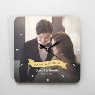 jam dinding custom tema foto romantis untuk kado pernikahan
