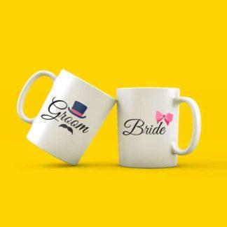 Jual Mug Couple Untuk Kado Pernikahan Tema Groom & Bride
