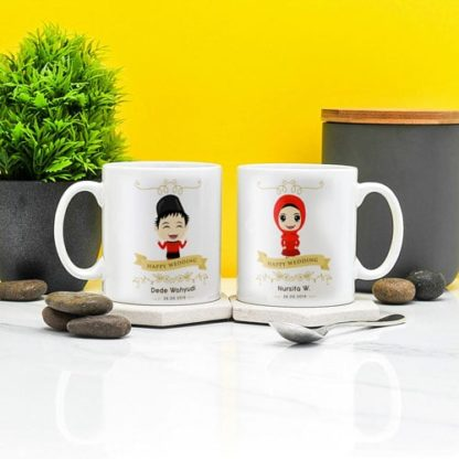 mug couple Muslim Kartun Lucu
