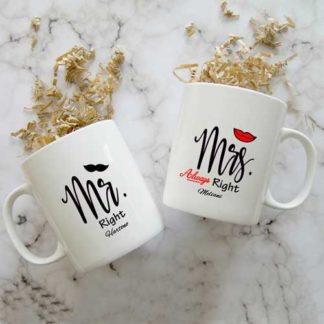 mug couple tema mr right mrs always right