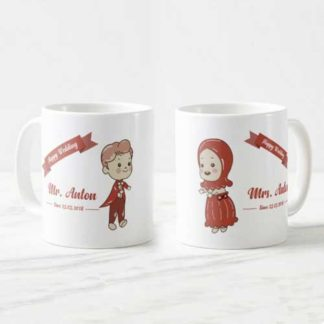 mug couple tema mr & mrs cartoon