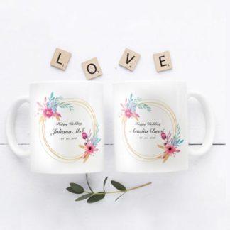 mug couple tema romantic flower
