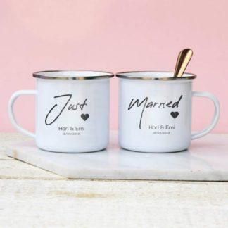 mug enamel couple just married