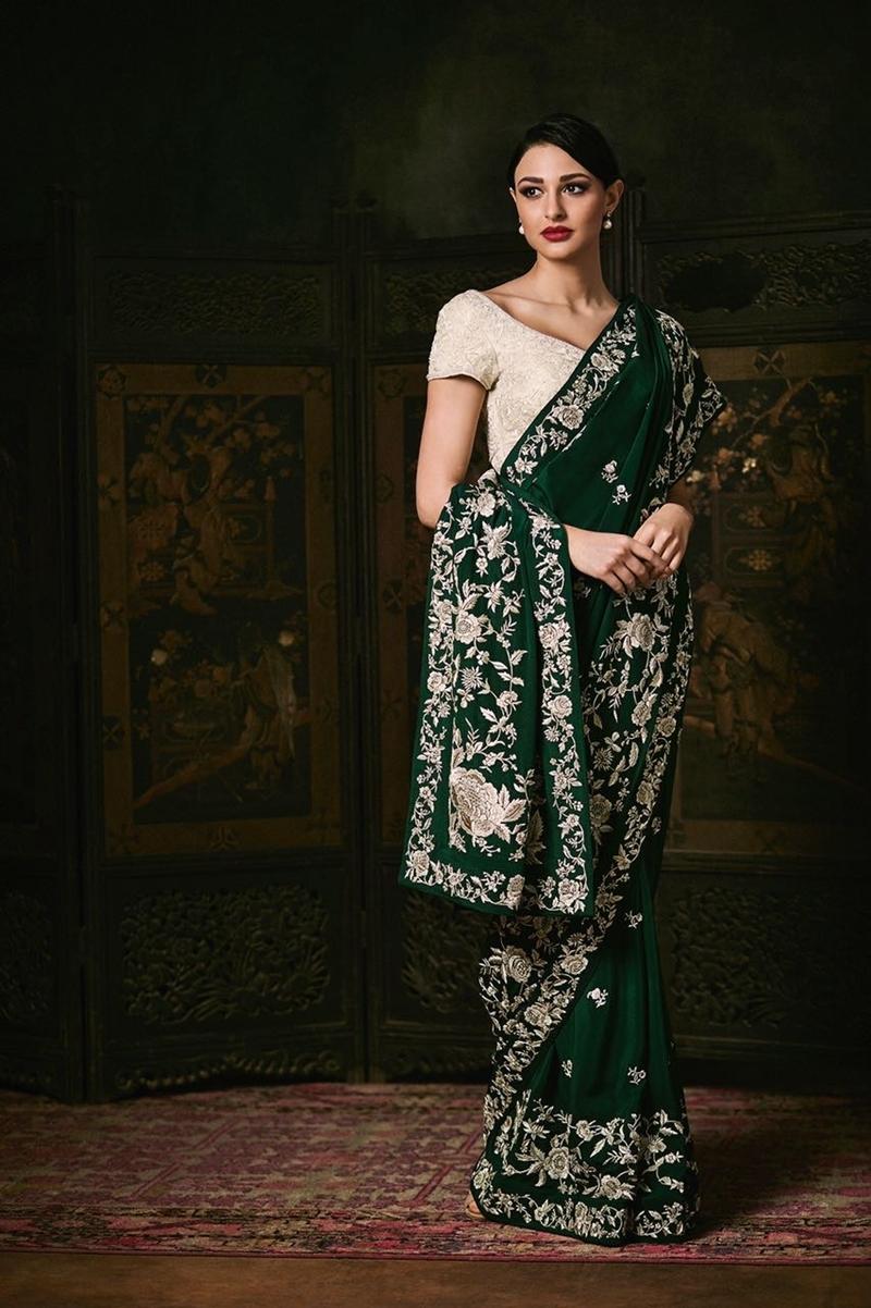 Rose Garden Emerald Sari