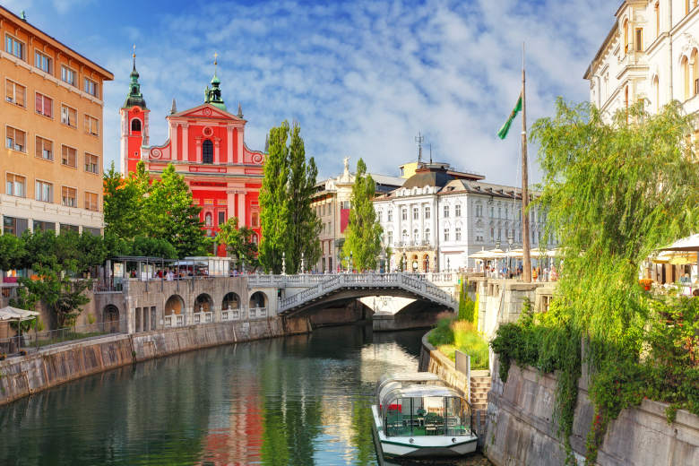 Ljubljana city center and Ljubljanica river