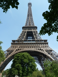 The Eiffel Tower, Paris, France, as seen from the Allee Leon Bourgeois
