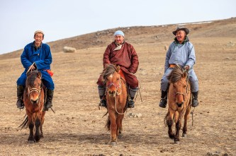 Mongolian horsemen, Hustai, Mongolia