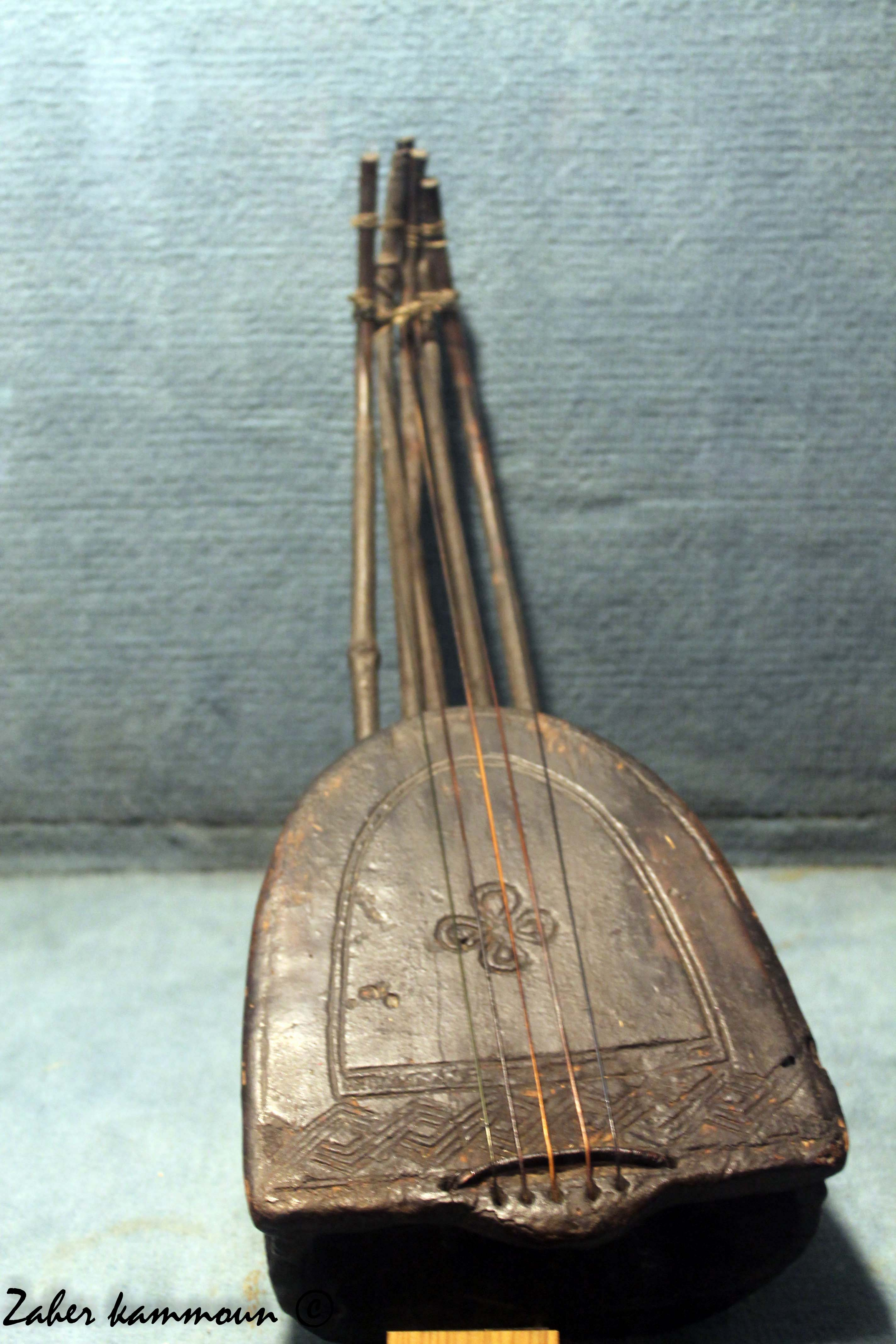 لوحة عدد 3 : صورة لآلة ڨنبري تم اقتناؤها من تونس سنة 1903 محفوظة بمتحف الآلات  الموسيقية ببرلين. طولها 51.8 سنتيمترا وصندوقها من ترس سلحفاة6.
