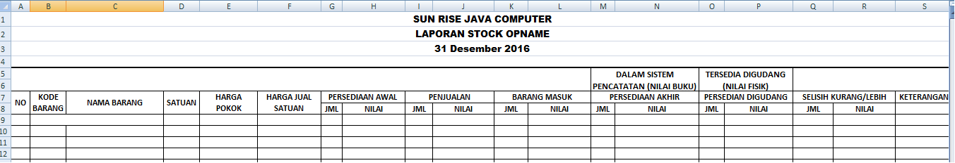 Pengertian Dan Contoh Laporan Stock Opname Excel