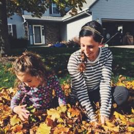 Fun in the leaf pile