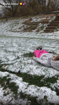 Trying hard to make a snow angel