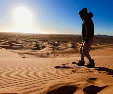 Sand Boarding in Dunes of Erg Chebbi