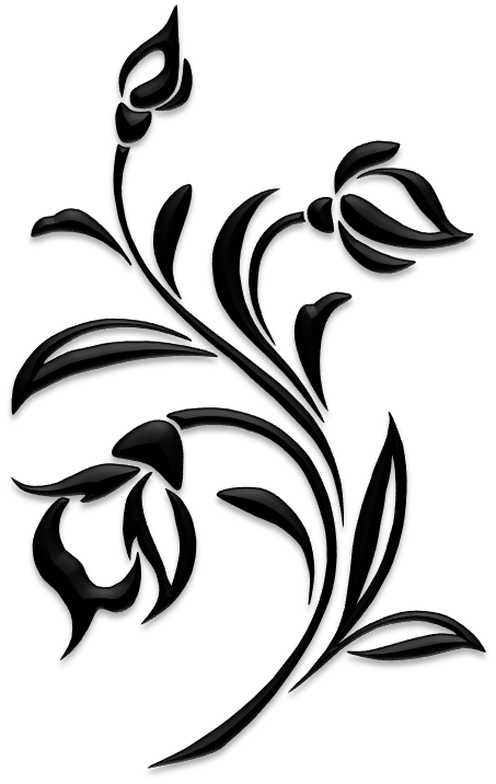 White Clip Lily Art Border