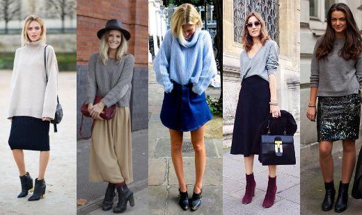 tipos de jersey de lana con falda