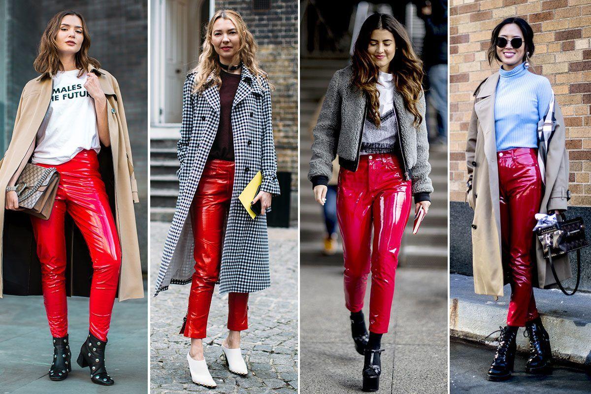 looks con color rojo pantalones