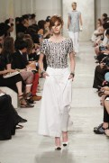CHANEL resort 2014 Singapore - Black and silver top and white pants