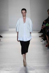 Victoria Beckham Spring 2014- White jacket and shirt with black shorts