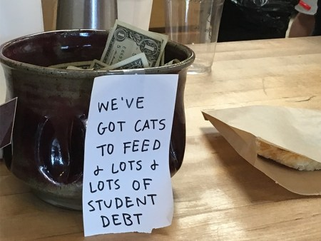tip jar to help with student debt
