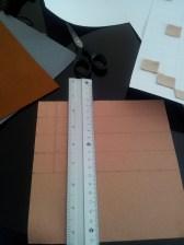 Cutting the 2.5 cm felt squares