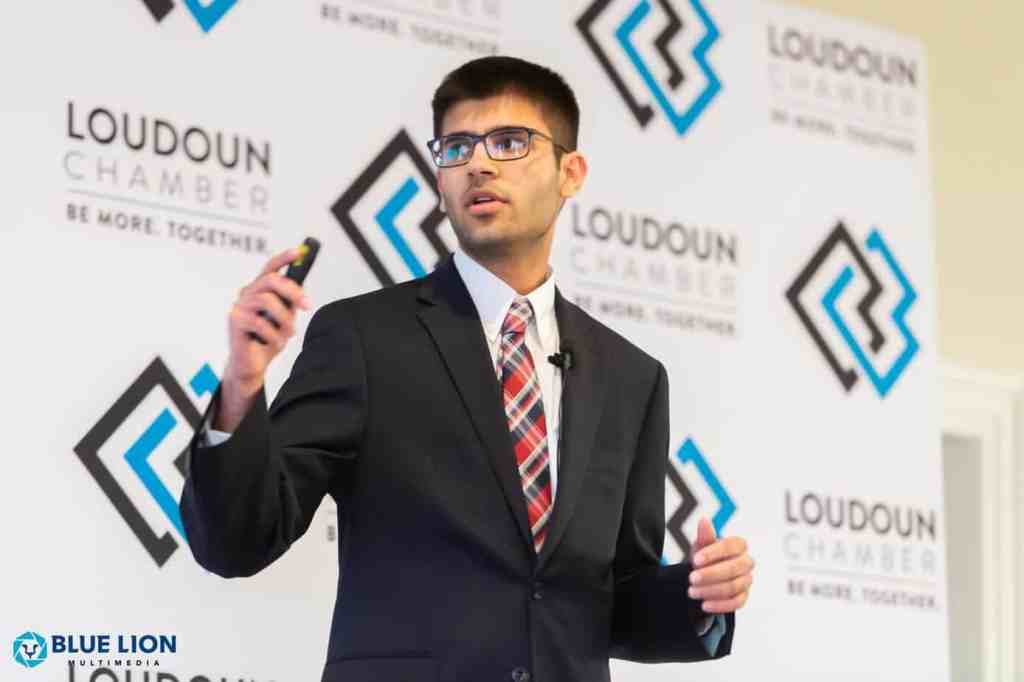 Zain Ali presenting his entrepreneur endeavor at Loudoun Chamber of Commerce