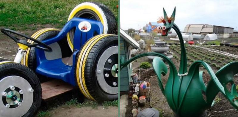 декорация на градината с гуми