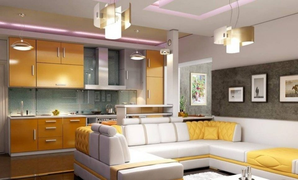 дизайн гостиной совмещенной с кухней 1